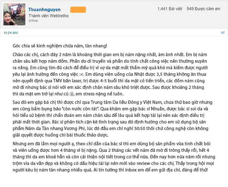 Khách hàng phản hồi trên trang webtretho sau khi sử dụng bộ sản phẩm Vương Phi