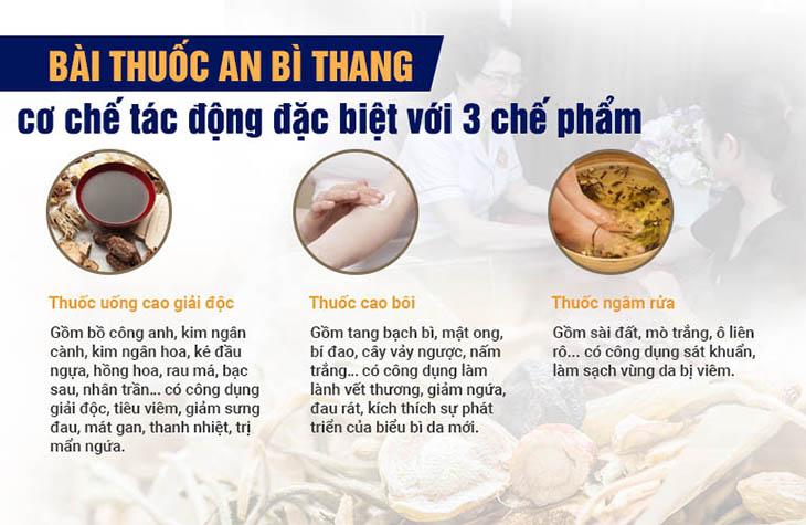 Mỗi chế phẩm đều mang tác dụng điều trị tập trung từng vấn đề của viêm da cơ địa