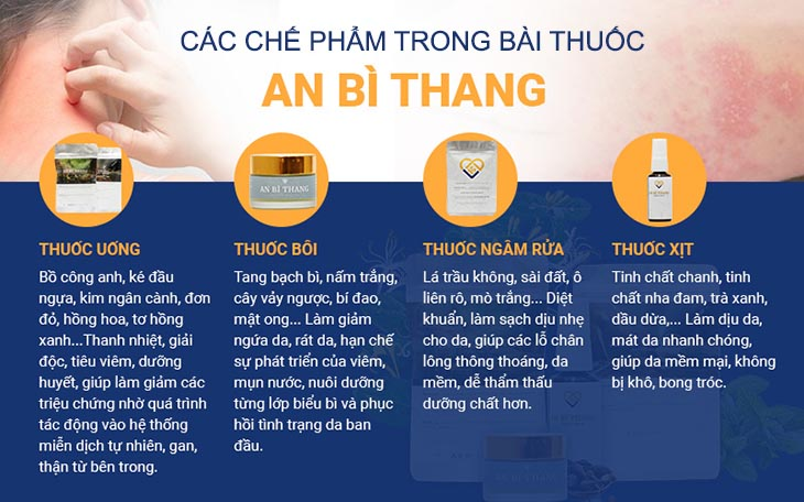 Các chế phẩm của bài thuốc An Bì Thang đem lại hiệu quả điều trị chàm da tối ưu