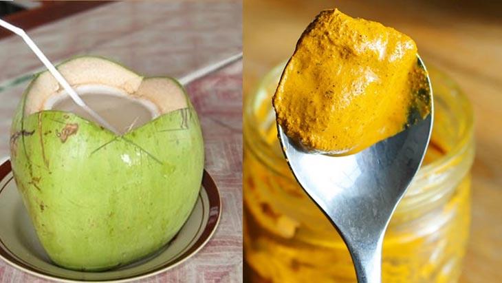 Chữa đau dạ dày bằng dừa và nghệ