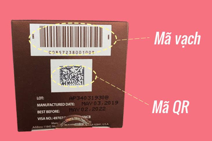 Sâm Alipas thật có mã vạch và phần quét mã QR ở đáy hộp