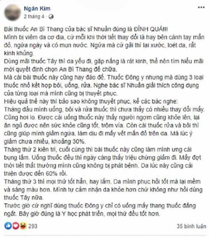 Bệnh nhân Ngân Kim phản hồi tích cực về bài thuốc An Bì Thang trên mạng xã hội