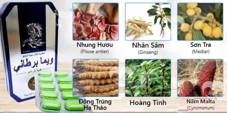 Sản phẩm có chứa các dược liệu quý hiếm như: nhung hươu, đông trùng hạ thảo, nhân sâm,...