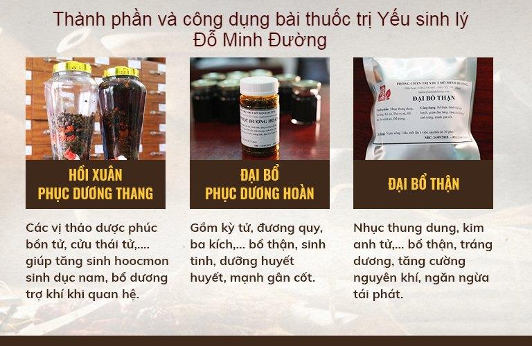 Thành phần và công dụng các chế phẩm trong bài thuốc Sinh lý nam Đỗ Minh