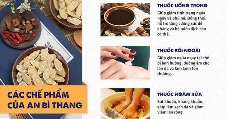 Chế phẩm thuốc uống, bôi, ngâm rửa của bài thuốc An Bì Thang chữa viêm da dị ứng