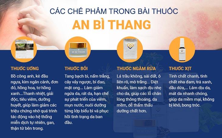 Các chế phẩm được sử dụng kết hợp tạo nên hiệu quả của bài thuốc An Bì Thang
