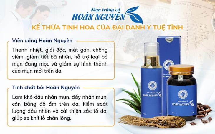 Bộ sản phẩm Hoàn Nguyên được phát triển với 2 chế phẩm là Viên uống và Tinh chất bôi.