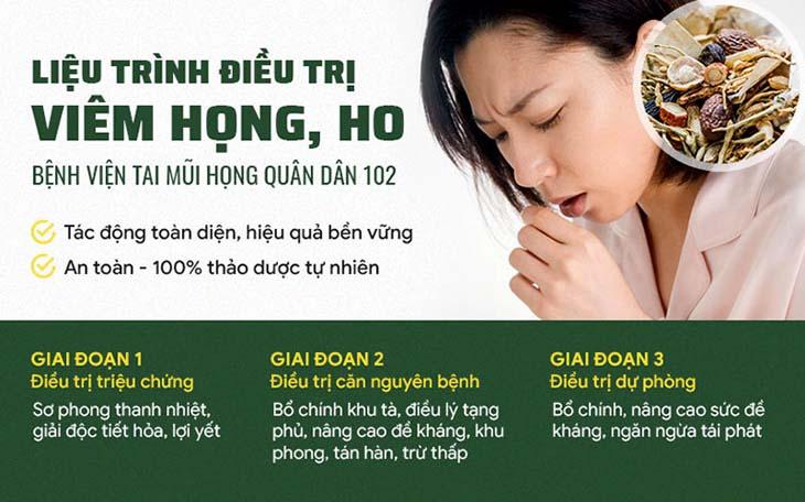Liệu trình trị viêm họng Quân đân 3 giai đoạn