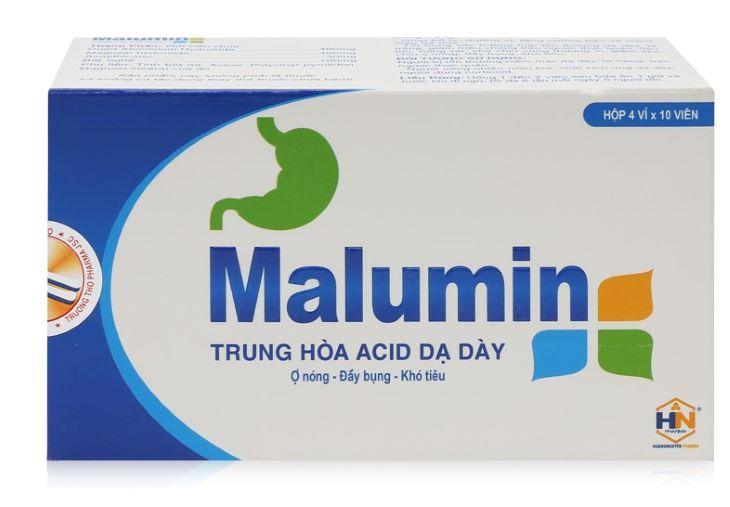 Hình ảnh thuốc Malumin giúp trung hòa acid dịch vị