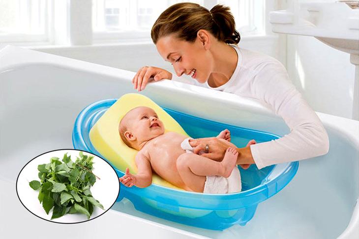Tắm lá kinh giới giúp giảm ngứa cho trẻ hiệu quả