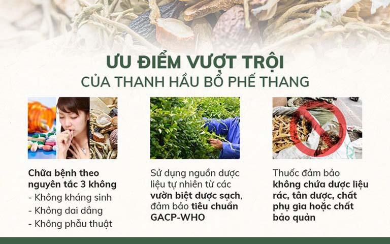 Ưu điểm bài thuốc Thanh Hầu Bổ Phế Thang Quân dân