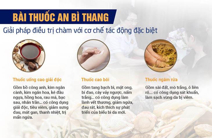 3 chế phẩm trong bài thuốc An Bì Thang đều có những thành phần, vị thuốc chủ đạo, mang lại tác động tập trung