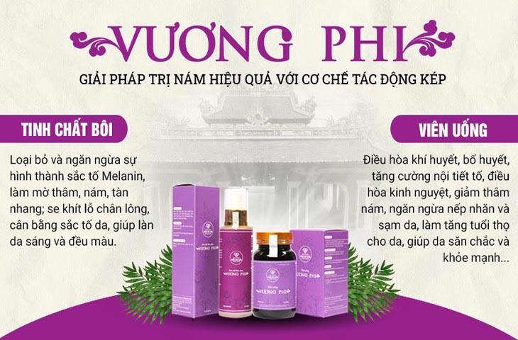 Bộ sản phẩm Nám da Tàn nhang Vương Phi gồm 2 chế phẩm viên uống và tinh chất bôi tác động toàn diện