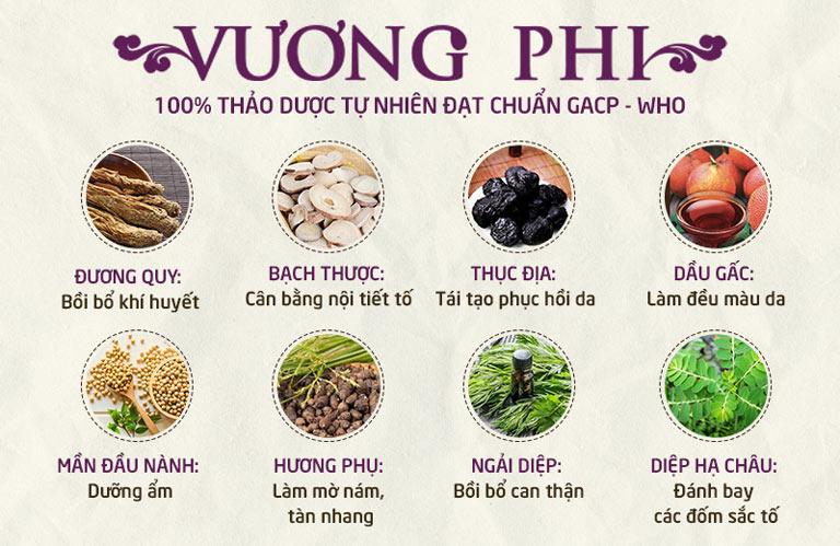 Bộ sản phẩm Nám da Tàn nhang Vương Phi được bào chế từ nhiều thảo dược quý