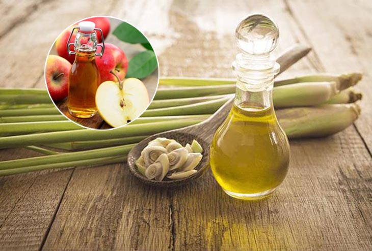 Kết hợp giấm táo và tinh dầu sả là một cách hay trị vảy nến ở da đầu
