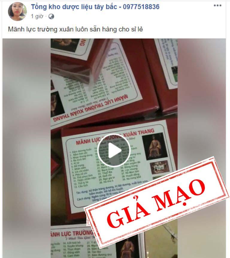 Mãnh lực trường xuân giả bán công khai trên facebook