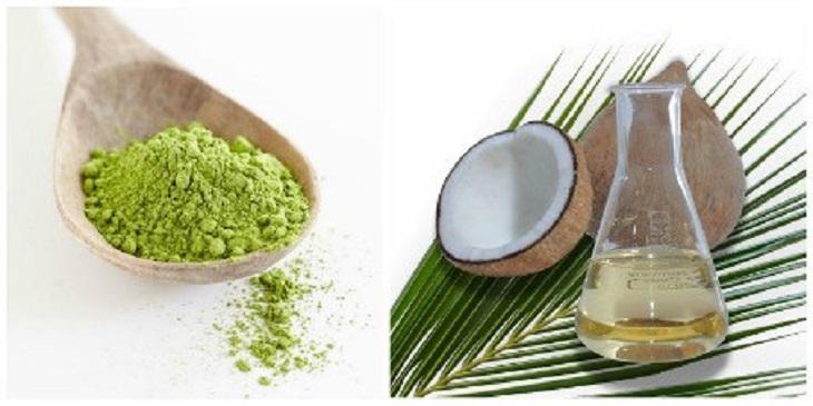 Mặt nạ trà xanh trị mụn ẩn kết hợp với dầu dừa
