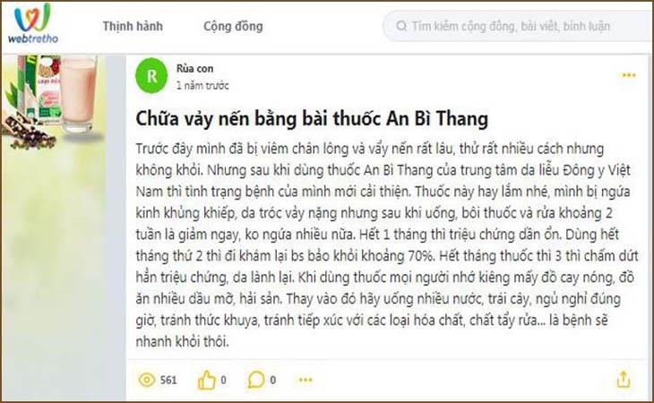 Người bệnh trên webtretho phản hồi về bài thuốc An Bì Thang