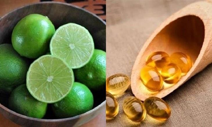 Nước cốt chanh và viên nang vitamin E giúp dưỡng ẩm và đều màu da