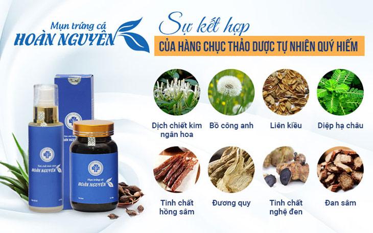 Các loại thảo dược có trong BSP Trị Mụn trứng cá Hoàn Nguyên