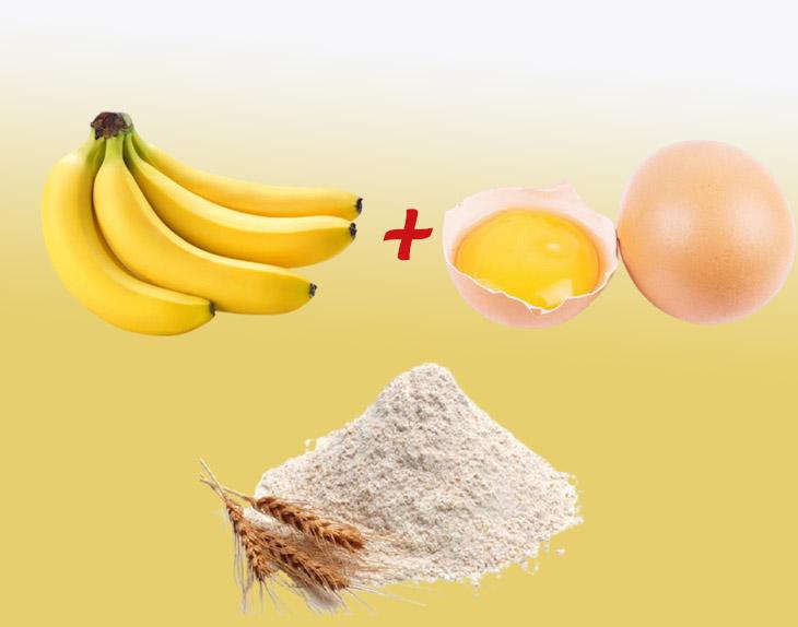 Trị mụn với hỗn hợp chuối, trứng gà, bột mì