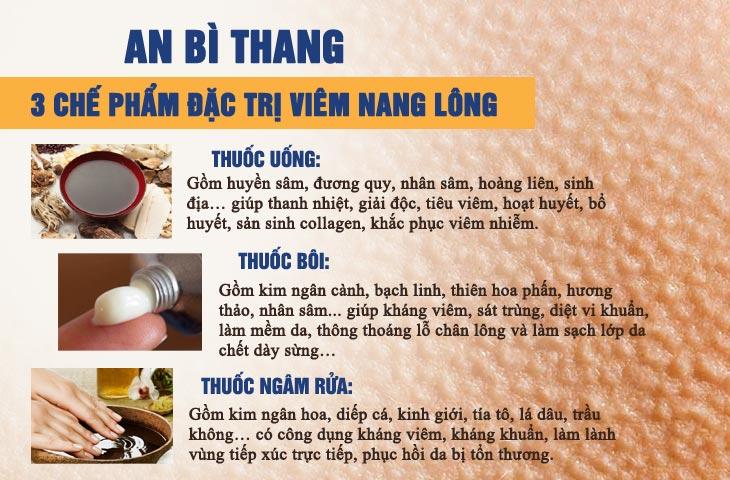 3 chế phẩm An Bì Thang chữa viêm nang lông