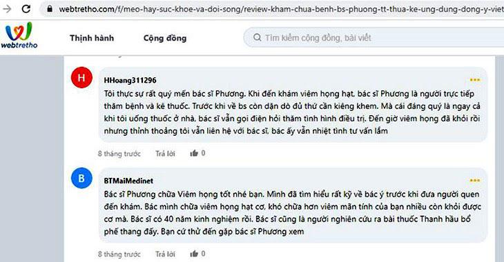 Bệnh nhân phản hồi về hiệu quả chữa viêm họng cùng bác sĩ Lê Phương