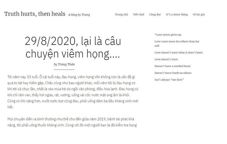 Chia sẻ của chị Trang về hành trình chữa viêm họng hạt tại Trung Tâm Đông y Việt Nam