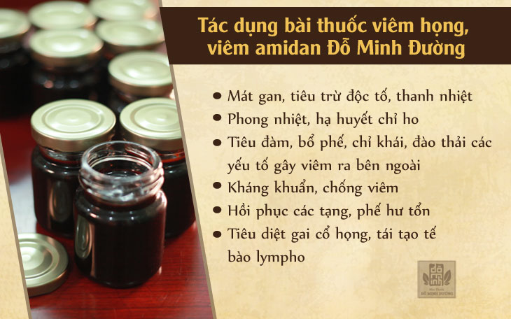 tác dụng bài thuốc viêm họng, viêm amidan Đỗ Minh