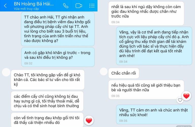 Bệnh nhân phản hồi qua tin nhắn