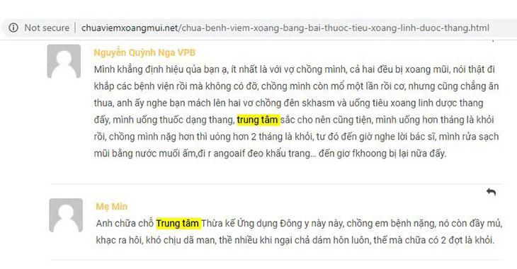 Phản hồi của người bệnh trên chuyên trang chuaviemmuixoang.net