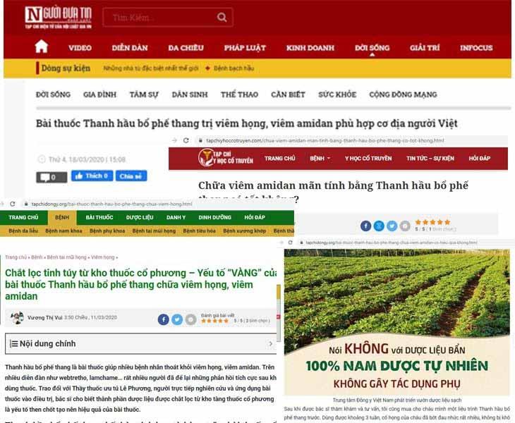 Thanh Hầu Bổ Phế Thang xuất hiện trên nhiều trang thông tin