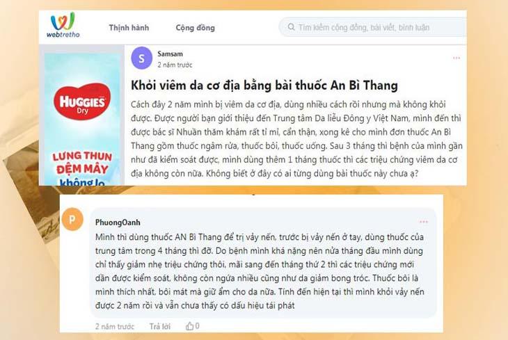 Phản hồi của người bệnh khi dùng An Bì Thang trên webtretho