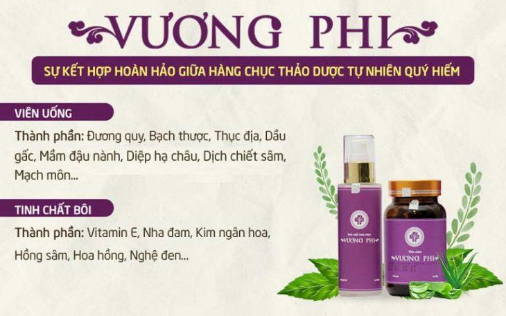 Hai chế phẩm trong bộ sản phẩm Vương Phi được bào chế từ hàng chục vị thảo dược quý 100% thiên nhiên