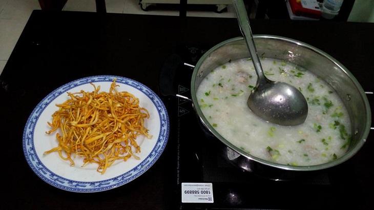 Cách ăn đông trùng hạ thảo - nấu cháo chay cho người ăn kiêng, ăn thực dưỡng