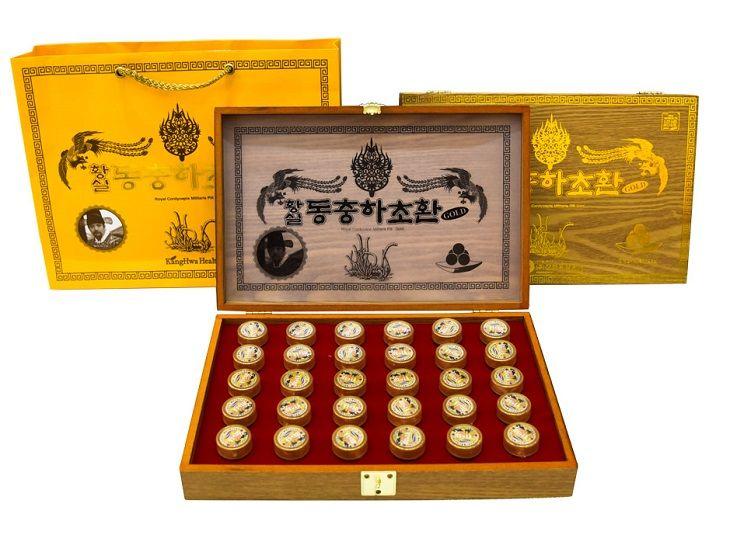 Đông trùng hạ thảo hộp gỗ vàng KangHwa Hàn Quốc
