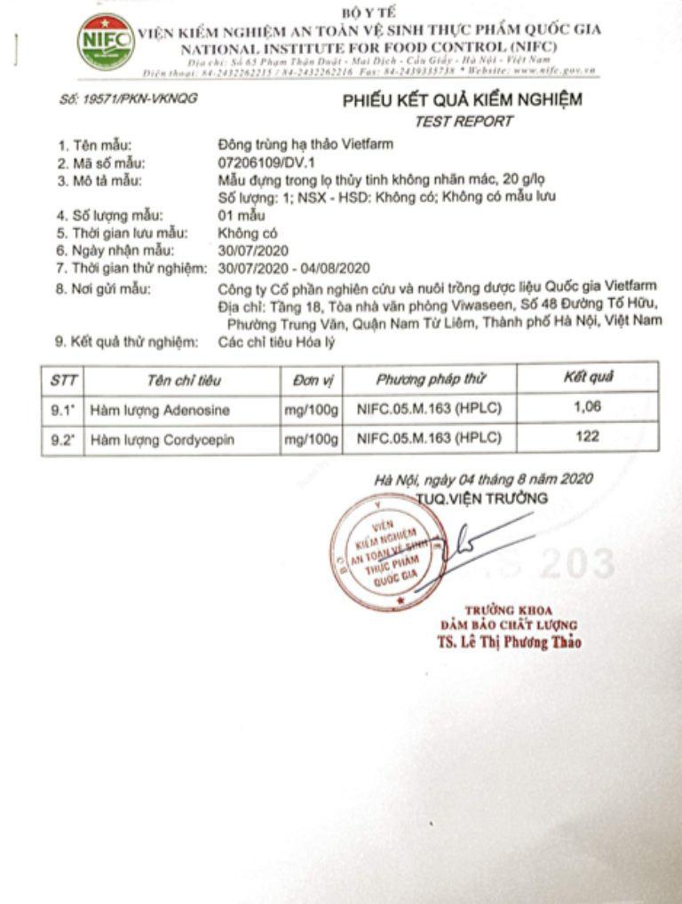 Giấy kiểm định hàm lượng cấp phát bởi Bộ Y Tế
