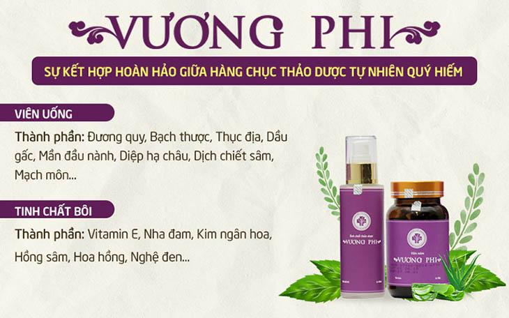Thành phần 100% thảo dược thiên nhiên của bộ sản phẩm Vương Phi