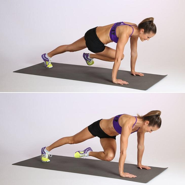 Động tác leo núi là bài tập thứ ba trong số 6 bài tập giảm mỡ bụng cơ bản