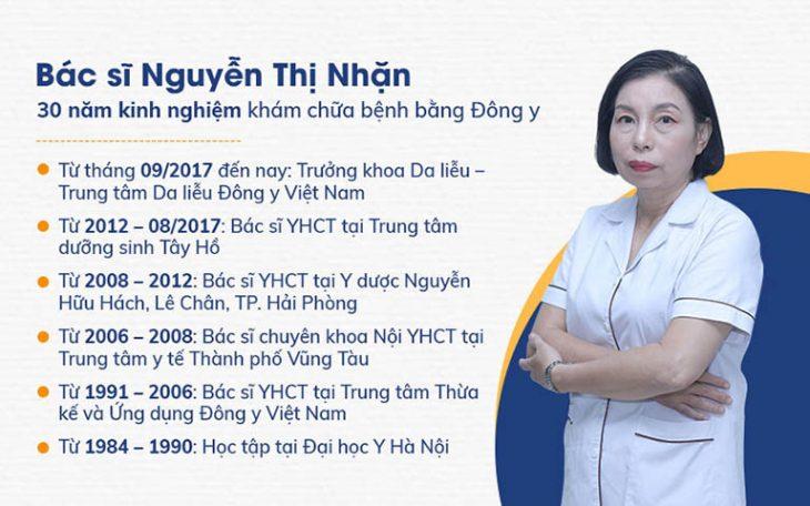 Bác sĩ Nguyễn Thị Nhặn là một trong những chuyên gia da liễu được nhiều người bệnh tin tưởng