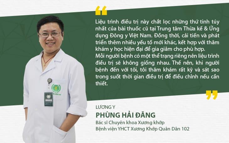 Bác sĩ Phùng Hải Đăng cho rằng việc kết hợp Đông Tây y trong điều trị xương khớp là việc cần thiết