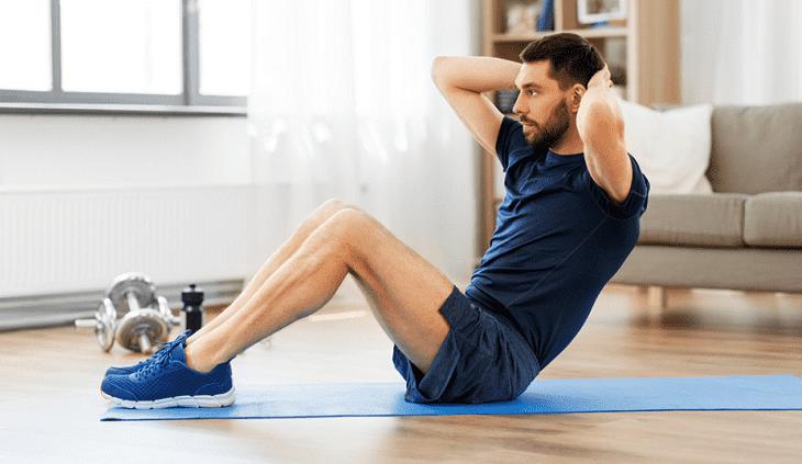 Bài tập giảm mỡ bụng cho nam - động tác gập bụng