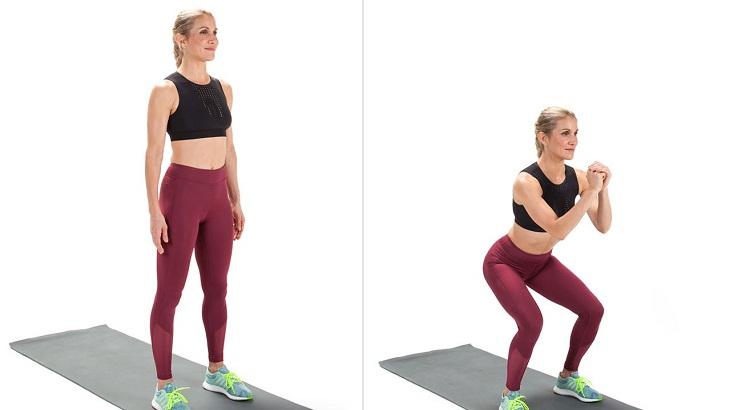 Bài tập giảm mỡ bụng trước khi ngủ hiệu quả - Squat cơ bản