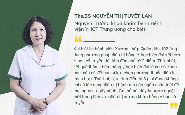 ThS.BS Nguyễn Thị Tuyết Lan đánh giá cao về giải pháp xương khớp Quân dân 102