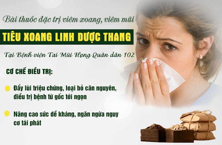 Cơ chế điều trị viêm xoang, viêm mũi bằng bài thuốc Tiêu xoang linh dược thang