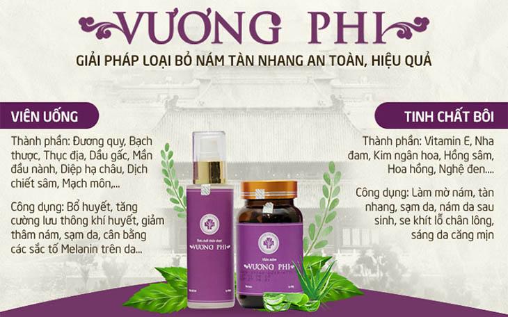 Bộ sản phẩm Vương Phi bao gồm thuốc viên uống và tinh chất bôi, đem tới tác động toàn diện trong trị nám, tàn nhang