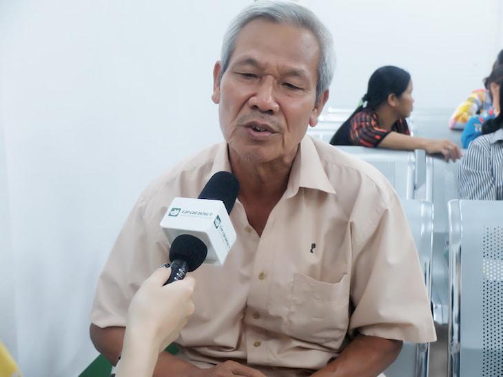 Bác Nhâm Bá Điềm - Bệnh nhân đang điều trị viêm mũi dị ứng tại Bệnh viện Tai Mũi Họng Quân Dân 102