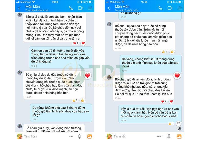 Người nhà bệnh nhân gửi tin nhắn phản hồi bài thuốc Quốc dược Phục cốt khang
