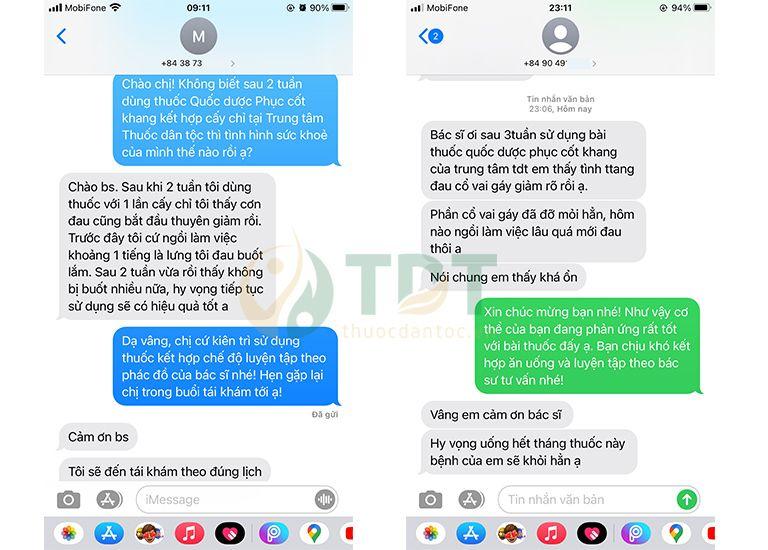 Bệnh nhân gửi tin nhắn phản hồi về hiệu quả bài thuốc Quốc dược phục cốt khang