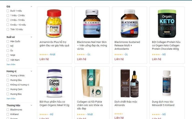 Các sản phẩm theo chức năng tại Dr Vitamin